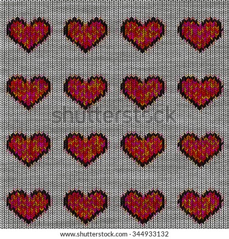 Hearts Knitted Clothes Pattern Hand Made Stock Illustration