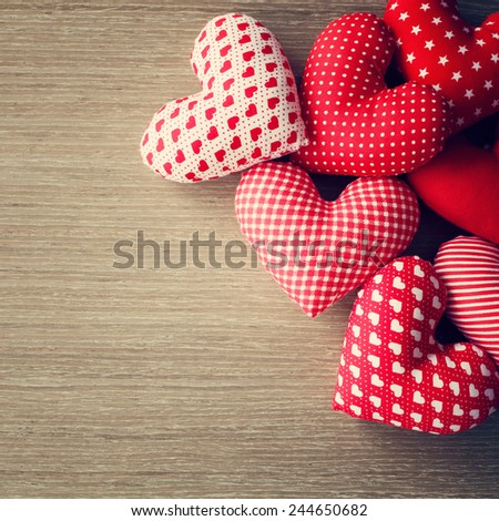 Hearts on wood table  - stock photo