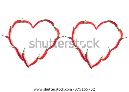 Hearts red chillies only white background,Fresh chillies, postcard love, chilli peppers, popular - stock photo