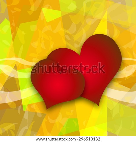 Hearts, romantic love abstract background - stock photo