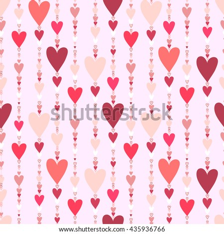 Hearts seamless pattern. Striped love hearts background Red, pink and rose vertical heads line pattern background. Girl child pattern background. Hearts beads design illustration