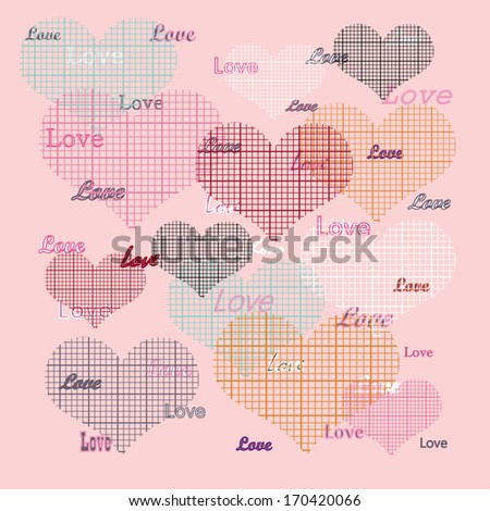 Hearts seamless pattern ,valentine's day  elements  with pile of  hearts