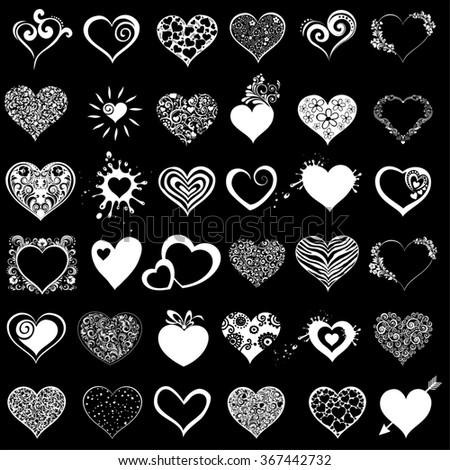 Hearts set for wedding and valentine design. White hearts isolated on Black background.  illustration - stock photo