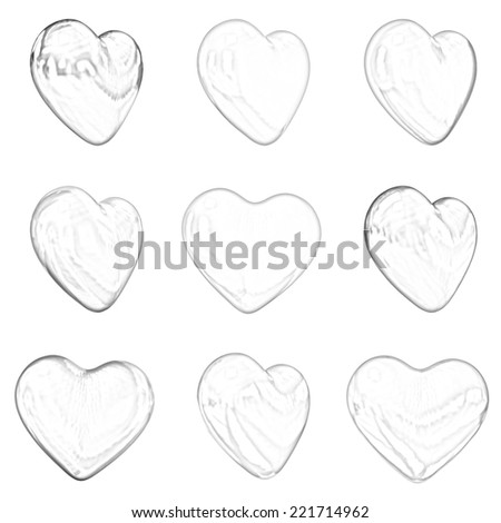 hearts set for wedding design on a white background. Pencil drawing - stock photo