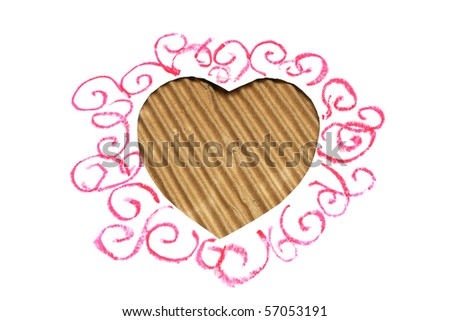 hearts shape cut from carboard - stock photo