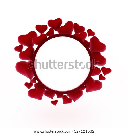 Hearts with card frame Valentine's day vector background