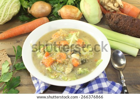 hearty cabbage stew with vegetables - stock photo