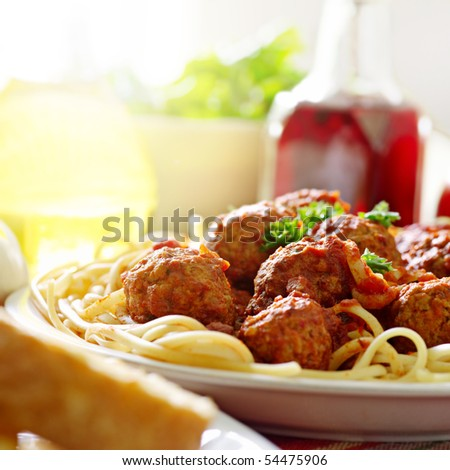 hearty spaghetti dinner - stock photo