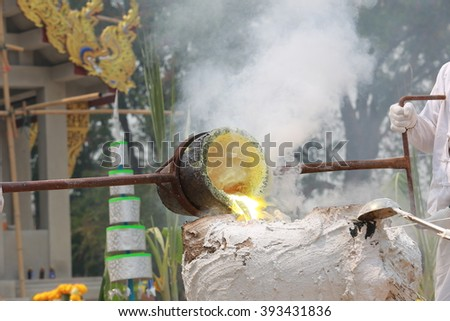 heat during Casting of Buddha images - stock photo