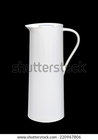 Heat protection-white thermos for coffee mug, isolated on black Backgrounds - stock photo