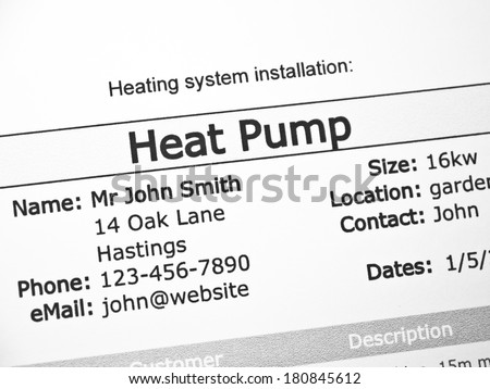 Heat Pump purchase contract - stock photo