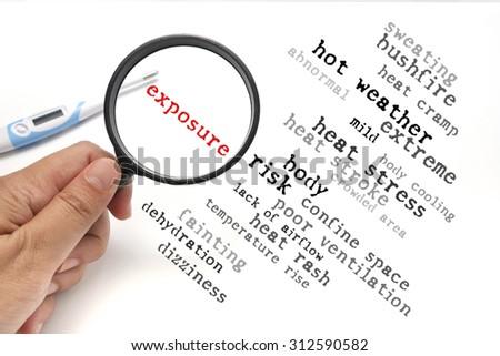 Heat stress, health conceptual focusing on Exposure - stock photo
