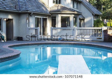 Outdoor home pool  Heated Outdoor Swimming Pool Large Home Stock Photo 107071148 ...