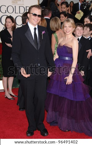 HEATH LEDGER & MICHELLE WILLIAMS at the 63rd Annual Golden Globe Awards at the Beverly Hilton Hotel. January 16, 2006  Beverly Hills, CA  2006 Paul Smith / Featureflash - stock photo