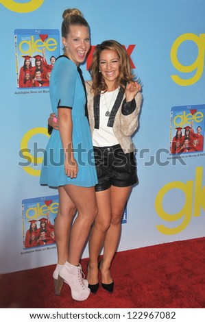 "Heather Morris & Vanessa Lengies (right) at the season four premiere of ""Glee"" at Paramount Studios, Hollywood. September 12, 2012  Los Angeles, CA Picture: Paul Smith - stock photo"