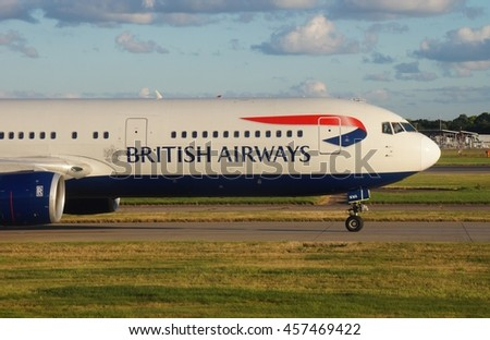 HEATHROW, ENGLAND -3 JULY 2016- A Boeing 767 airplane from British Airways (BA) on the tarmac at London Heathrow Airport (LHR). - stock photo