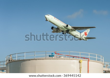 HEATHROW, LONDON, UK - JANUARY 28: Air Canada Boeing 767 in Arctic green livery departing from Heathrow Airport, London, UK on January 28, 2016 - stock photo