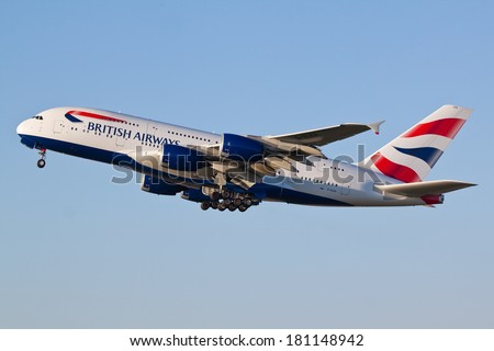 HEATHROW, LONDON, UK - MARCH 9: British Airways A380 (G-XLEA) taking off on March 9, 2014 at London Heathrow Airport, London, UK. - stock photo