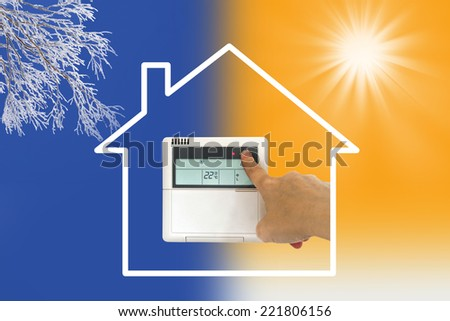 Heating and cooling air conditioner concept - stock photo