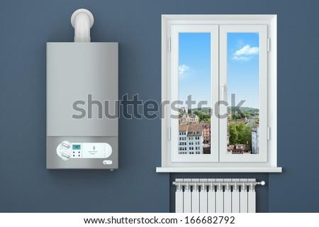 Heating house. Gas boiler, window, heating radiator. - stock photo