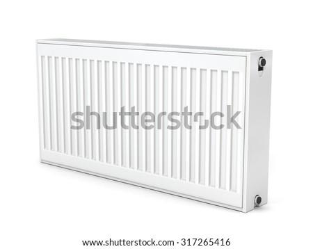 Heating radiator  isolated on white - stock photo