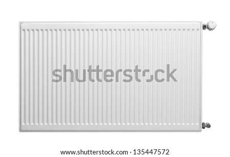 Heating radiator with thermostat isolated on white - stock photo