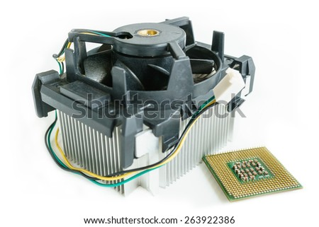 heatsink with cpu in isometric top view - stock photo