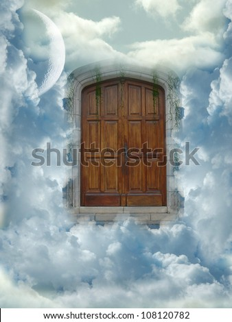 heaven door with clouds and big moon
