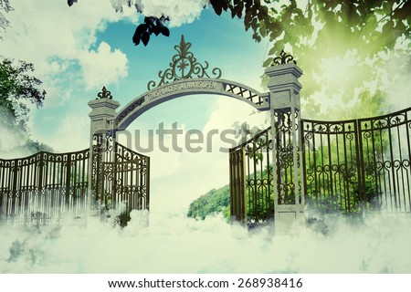 heaven gate in an old illustration - stock photo