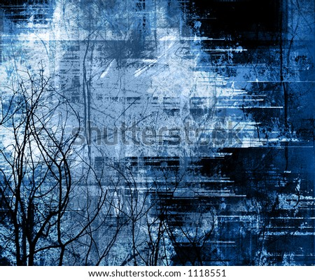 heavily layered with wintry tree silhouettes - stock photo