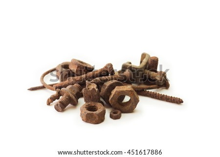 Heavily rusted nuts and bolts, screws and nails, isolated on white. - stock photo