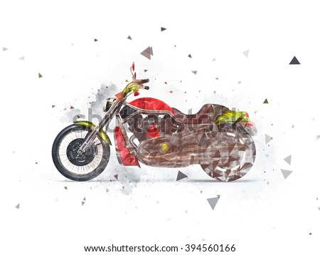 Heavy bike drawn effect - stock photo