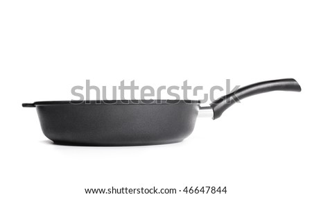 Heavy black pan profile isolated on white background - stock photo