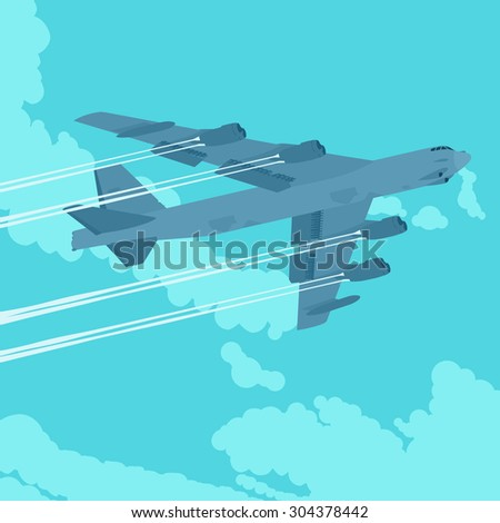 Heavy bomber against the blue sky with clouds. Illustration suitable for advertising and promotion