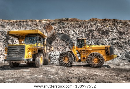 heavy building bulldozer quarry,car (HDR)