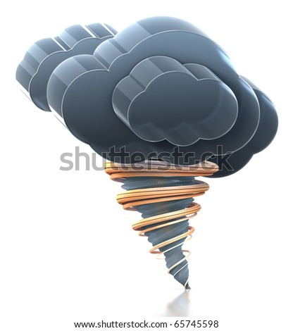Heavy cloud and tornado. Hi-res 3D rendered icon with clipping paths. - stock photo