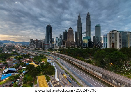 Heavy clouds at Kuala Lumpur city. - stock photo