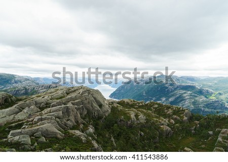 Heavy clouds over Lysefjord, Rogaland, Norway - stock photo