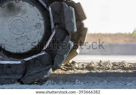 Heavy construction machine - bulldozer - stock photo