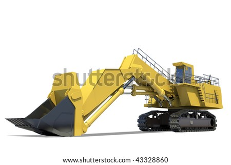 Heavy equipment. Excavator with bucket on a white background. - stock photo