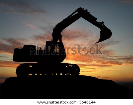 Heavy excavator over orange background