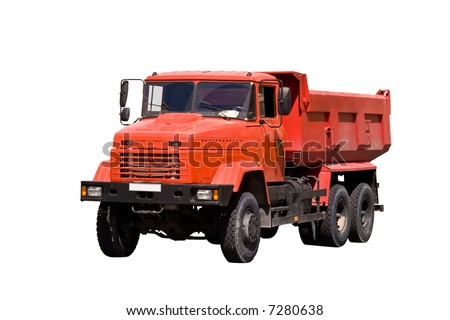 Heavy industrial orange tipper isolated over white background - stock photo