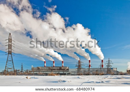 Heavy industrial pollution, environment problem. Smoke from the chimney factory, air pollution - stock photo