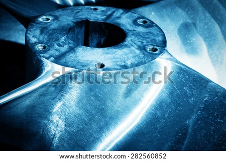 Heavy industrial shipbuilding element close-up. Industry, naval production. Blue tone - stock photo