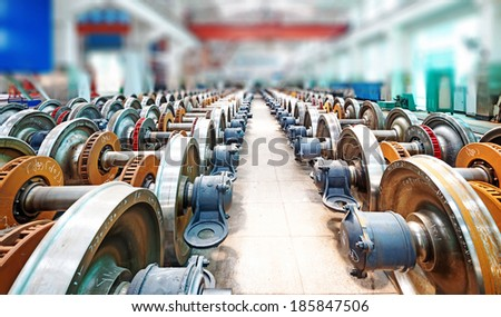 heavy industry factory,production of the steel train wheels - stock photo