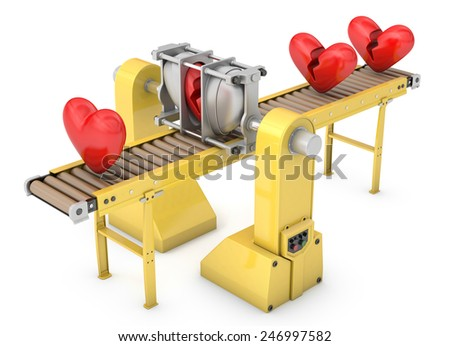 Heavy machine fixing broken hearts isolated on white background