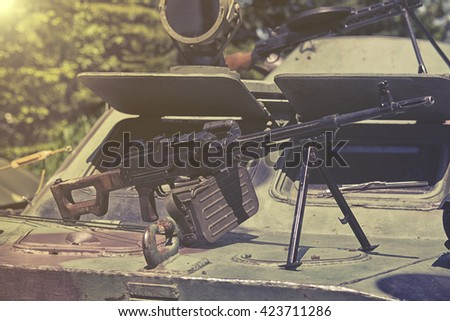 heavy machine gun - stock photo