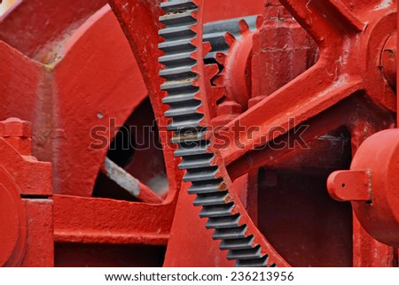 Heavy machinery painted in red. Industrial equipment - stock photo