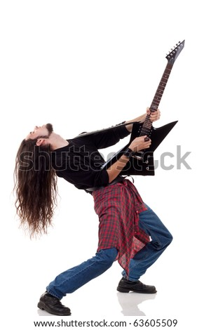 heavy metal guitarist playing an electric guitar over white - stock photo