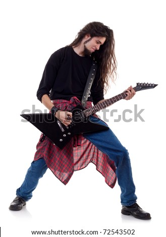 heavy metal guitarist playing the guitar isolated over white background - stock photo